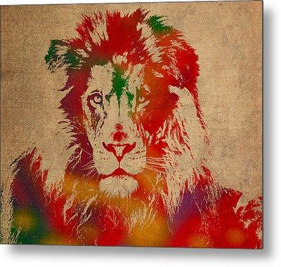 Lion Watercolor Portrait On Old Canvas Metal Print