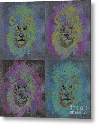 Lion X 4 Color  By Jrr Metal Print by First Star Art