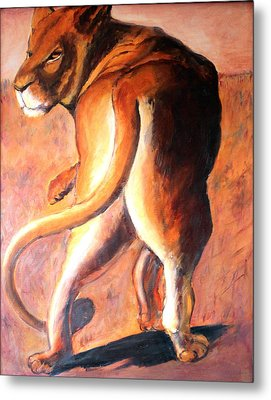 Metal Print featuring the painting Lioness by Rosemarie Hakim