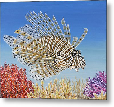 Lionfish And Coral Metal Print by Jane Girardot