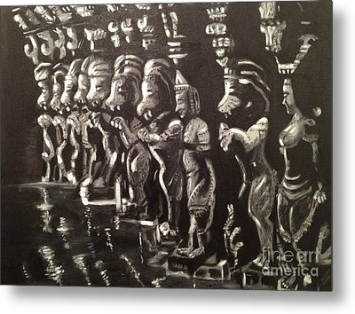 Metal Print featuring the painting Lionpillars by Brindha Naveen