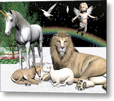 Lions And Lamb Metal Print