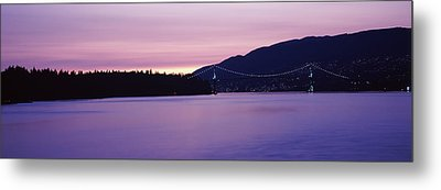Lions Gate Bridge At Dusk, Vancouver Metal Print by Panoramic Images