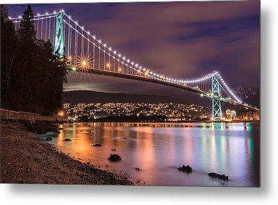 Lions Gate Bridge At Night Metal Print by James Wheeler