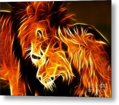 Lions In Love Metal Print by Pamela Johnson