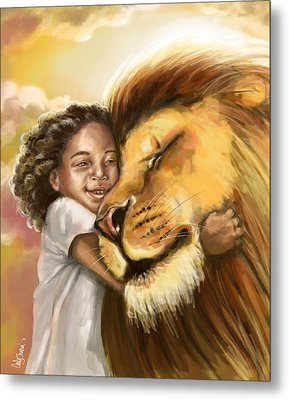 Lion's Kiss Metal Print by Tamer and Cindy Elsharouni
