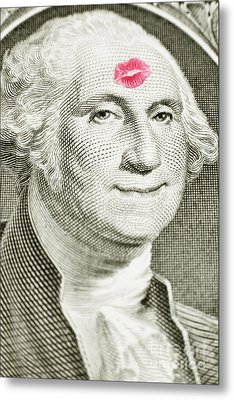 Lipstick Kiss On One Dollar Bill Metal Print