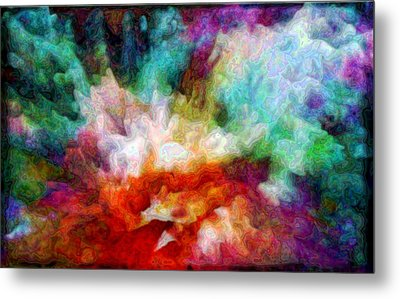 Metal Print featuring the digital art Liquid Colors - Enamel Edition by Lilia D