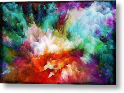 Metal Print featuring the painting Liquid Colors - Original by Lilia D