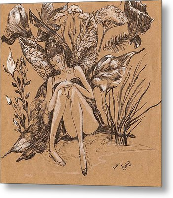 Metal Print featuring the drawing Lisanthius by Nadine Dennis