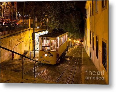 Lisbon Gloria Funicular Night Shot Metal Print by Kiril Stanchev