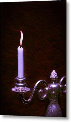 Lit Candle Metal Print by Amanda Elwell