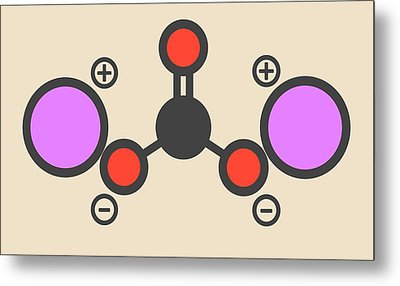 Lithium Carbonate Molecule Metal Print