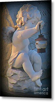 Little Angel With Lantern Metal Print by John Malone
