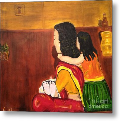 Metal Print featuring the painting Little Arms And Tiny Toes by Brindha Naveen