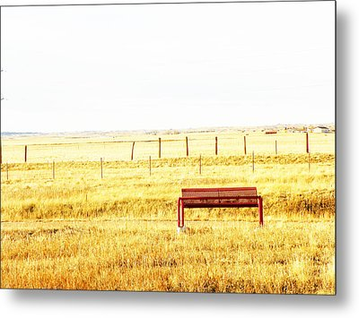 Little Bench On The Prairie Metal Print by Lenore Senior