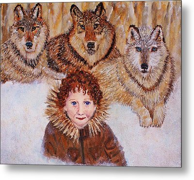 Little Bernard And The Wolves Metal Print by The Art With A Heart By Charlotte Phillips