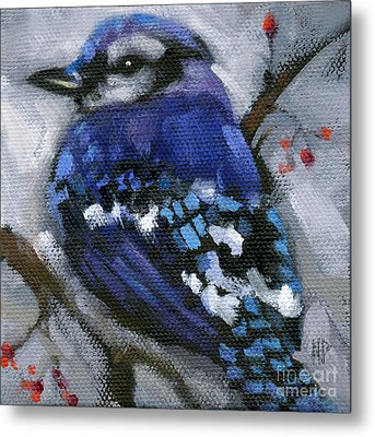 Sold Little Bird Come Sit Upon My Window Sill Metal Print by Nancy  Parsons