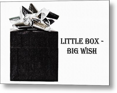 Metal Print featuring the photograph Black Present With A Silver Bow by Vizual Studio