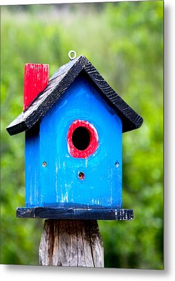 Little Blue Birdhouse Metal Print by Karon Melillo DeVega