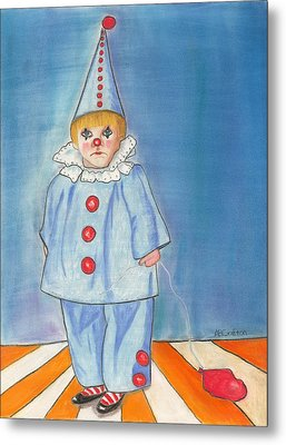 Metal Print featuring the painting Little Blue Clown by Arlene Crafton