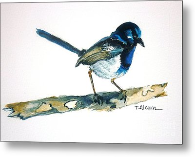 Metal Print featuring the painting Little Blue Wren - Original Sold by Therese Alcorn