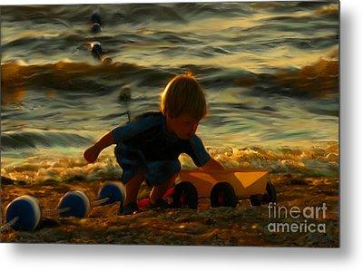Little Boy On The Beach Metal Print by Jeff Breiman