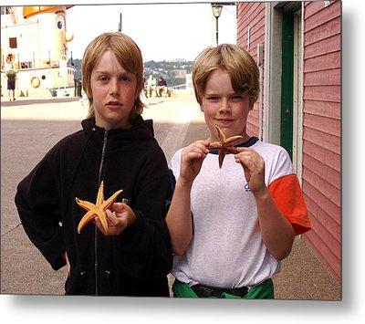 Little Boys At Halifax Harbour Metal Print by Brenda Anne Foskett