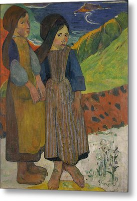 Little Breton Girls By The Sea, 1889 Oil On Canvas Metal Print by Paul Gauguin