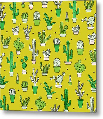 Little Cactus Botanical Garden Metal Print by Maaike Boot