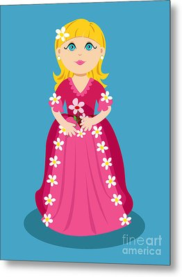 Little Cartoon Princess With Flowers Metal Print