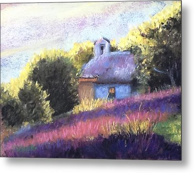 Metal Print featuring the pastel Little Chapel by Cindy Plutnicki