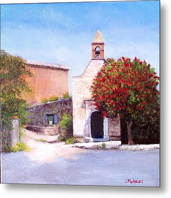 Metal Print featuring the painting Little Chapel France by Cindy Plutnicki