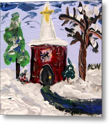 Metal Print featuring the painting Little Chapel In The Snow by Mary Carol Williams