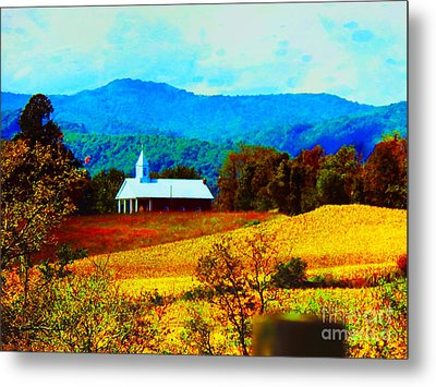 Little Church In The Mountains Of Wv Metal Print by Gena Weiser