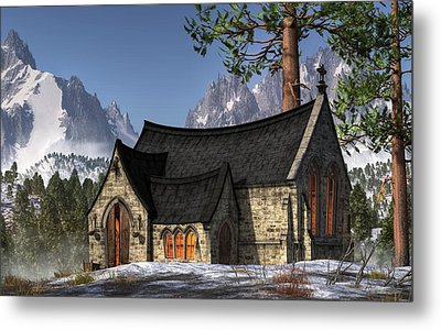 Little Church In The Snow Metal Print