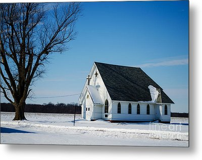 Little Church On The Prairie Metal Print by Luther Fine Art
