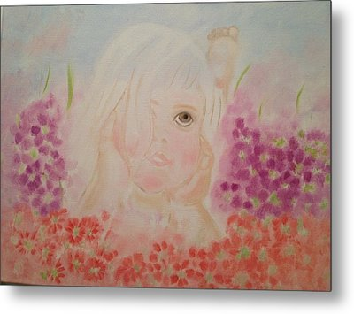 Metal Print featuring the painting Little Dreamer by Brindha Naveen