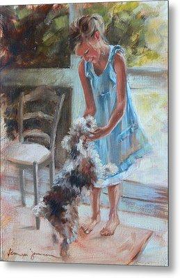Little Girl And Dog Metal Print