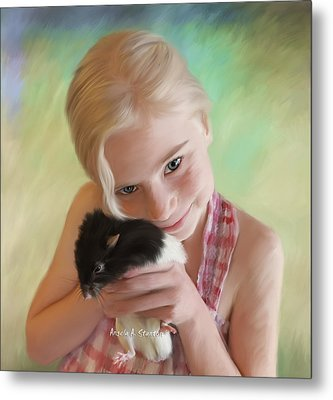 Little Girl And Pet Rat Metal Print by Angela A Stanton