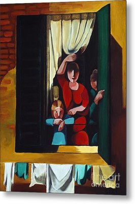 Little Girl At Window Metal Print by William Cain