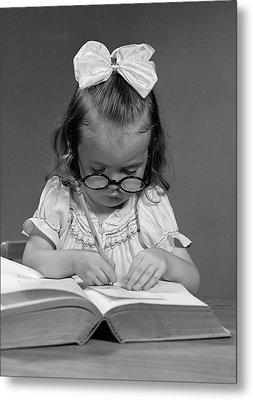 Little Girl, Big Book, C.1940s Metal Print