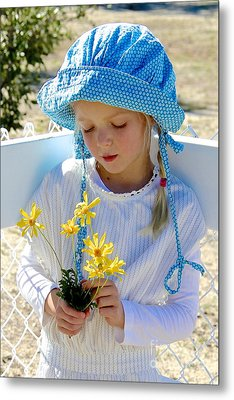 Little Girl Blue  Metal Print by Suzanne Oesterling