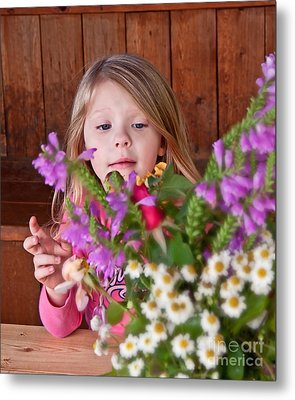 Little Girl Flower Arranging Metal Print by Valerie Garner