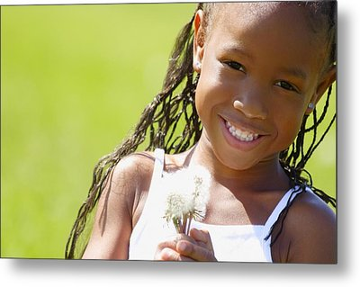 Little Girl Holding Weeds Metal Print by Hanson Ng