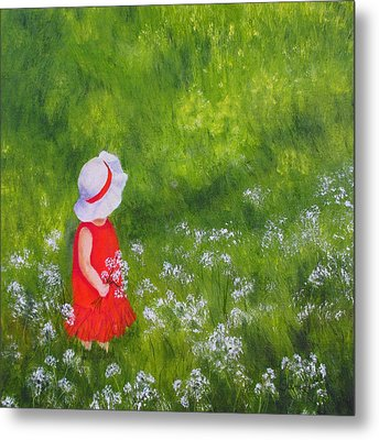 Metal Print featuring the painting Girl In Meadow by Roseann Gilmore
