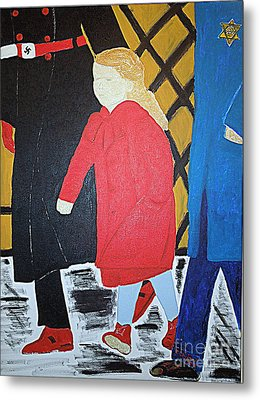 Little Jewish Girl In The Red Coat Metal Print