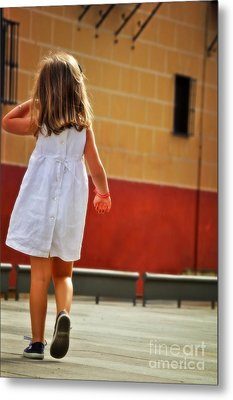 Little Girl In White Dress Metal Print