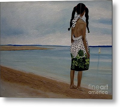 Little Girl On The Beach Metal Print