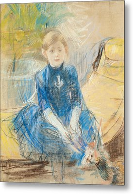 Little Girl With A Blue Jersey, 1886 Pastel On Canvas Metal Print